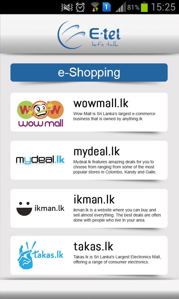 E-tel e-shopping